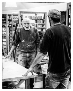 Warren MacKenzie Talking to Roelof Uys at the Leach Pottery, 2013.