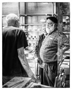 Warren MacKenzie Talking to John & Lizzie Leach at the Leach Pottery, 2013.