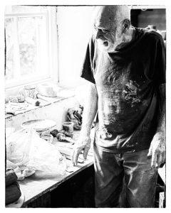 Warren MacKenzie Preparing Clay at the Leach Pottery, 2013.