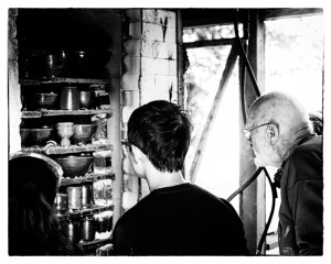 Warren MacKenzie & Studio Volunteer & Student Examine his Soda Firing, at the Leach Pottery 2013.
